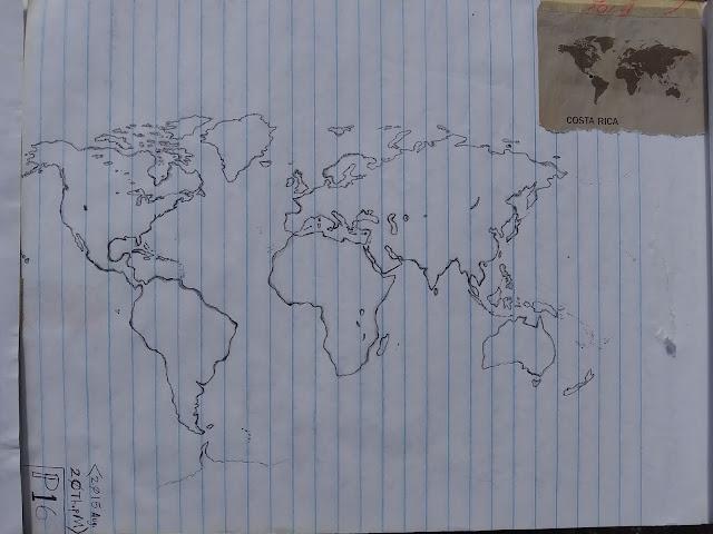 World map drawn by hand (not tracing) by Ahgamen Keyboa.