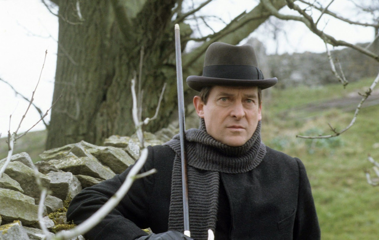 Jeremy Brett appearing in The Priory School as Sherlock Holmes