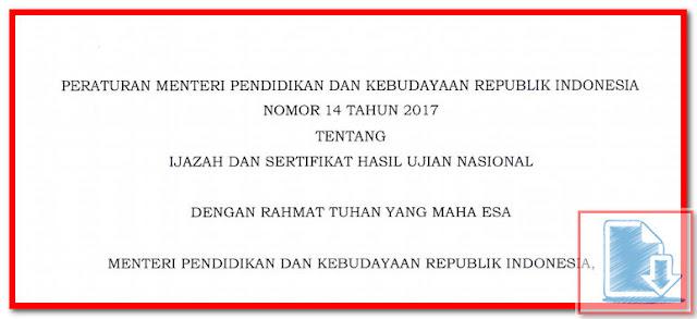 Contoh Cetak Blanko Ijazah UN & SHUN 2017 Sesuai PERMENDIKBUD No 14 Tahun 2017