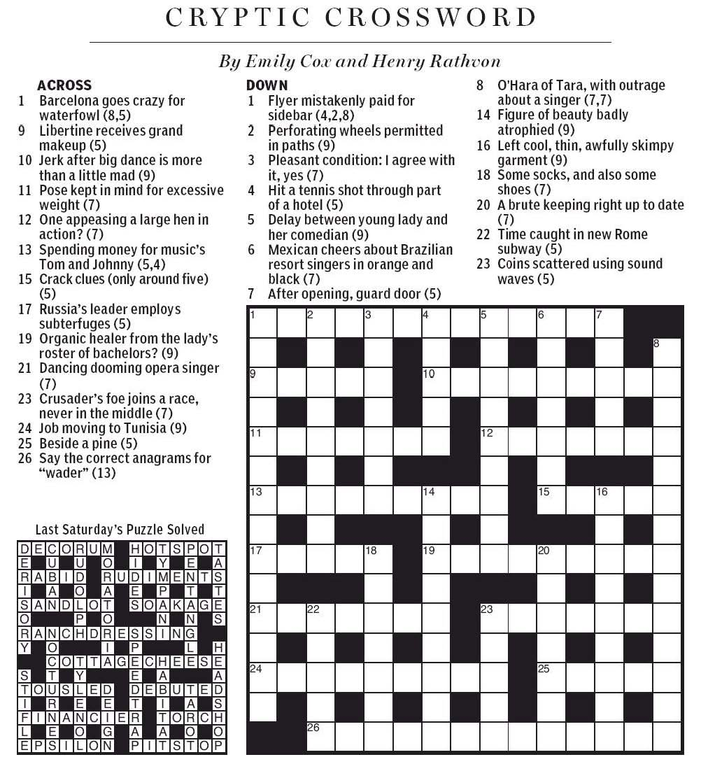 National Post Cryptic Crossword Forum: Saturday, April 20