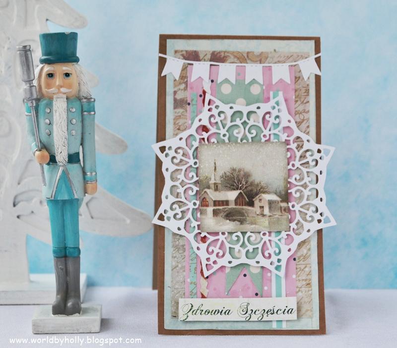 zimowa dekoracja, bajkowa dekoracja, kartka na dzień babci i Dziadka, kartka dla zimowego solenizanta, jubilata, bajkowa kartka, zimowe dekoracje z papieru