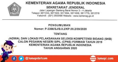 Jadwal dan Lokasi SKB CPNS Kemenag RI Tahun 2020 (Formasi 2019)