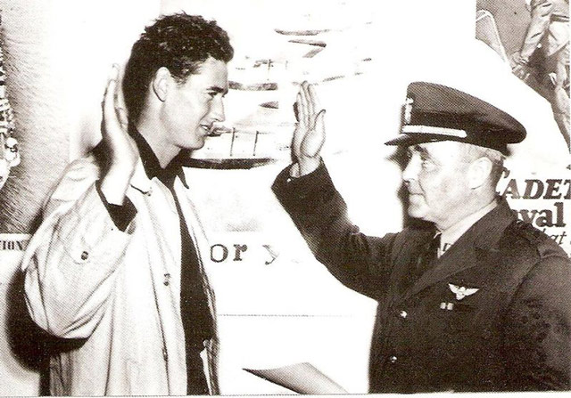 Ted Williams being sworn in, 22 May 1942 worldwartwo.filminspector.com