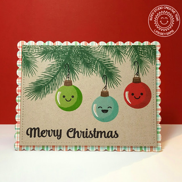Sunny Studio Stamps: Holiday Style Ornament Christmas Card by Lindsey Sams (using Merry Sentiments and Smiley Faces from Fresh & Fruity).