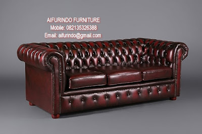 CLASSIC FRENCH FURNITURE-CLASSIC SOFA-ANTIQUE SOFA BROWN LEATHER FROM INDONESIA
