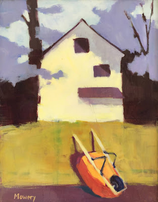 Painting of a wheelbarrow leaning on a fence by artist Barb Mowery.