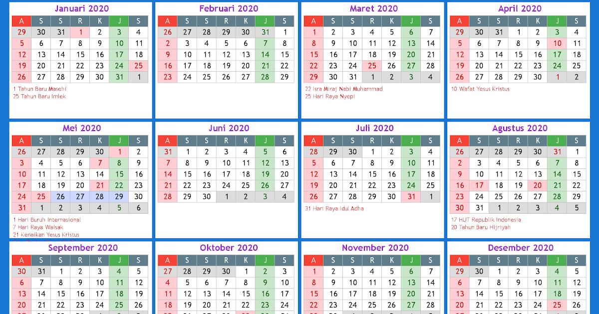 Online Kalender 2020 - Kalender Plan
