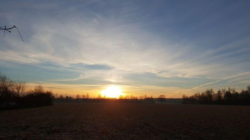 Sonnenaufgang über dem endlich schneefreien Feld