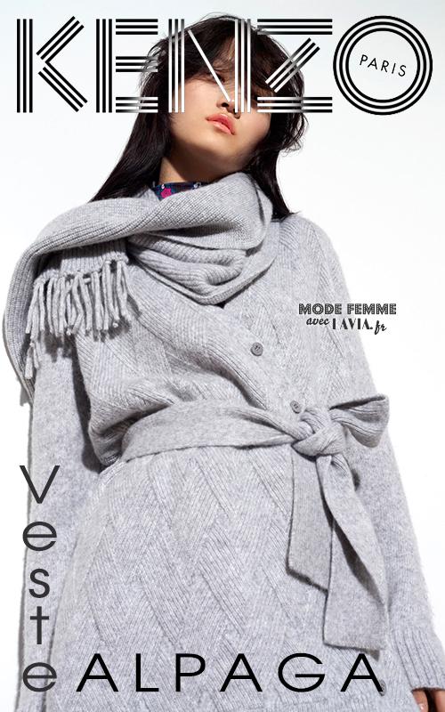 Gilet femme gris en laine et Alpaga KENZO