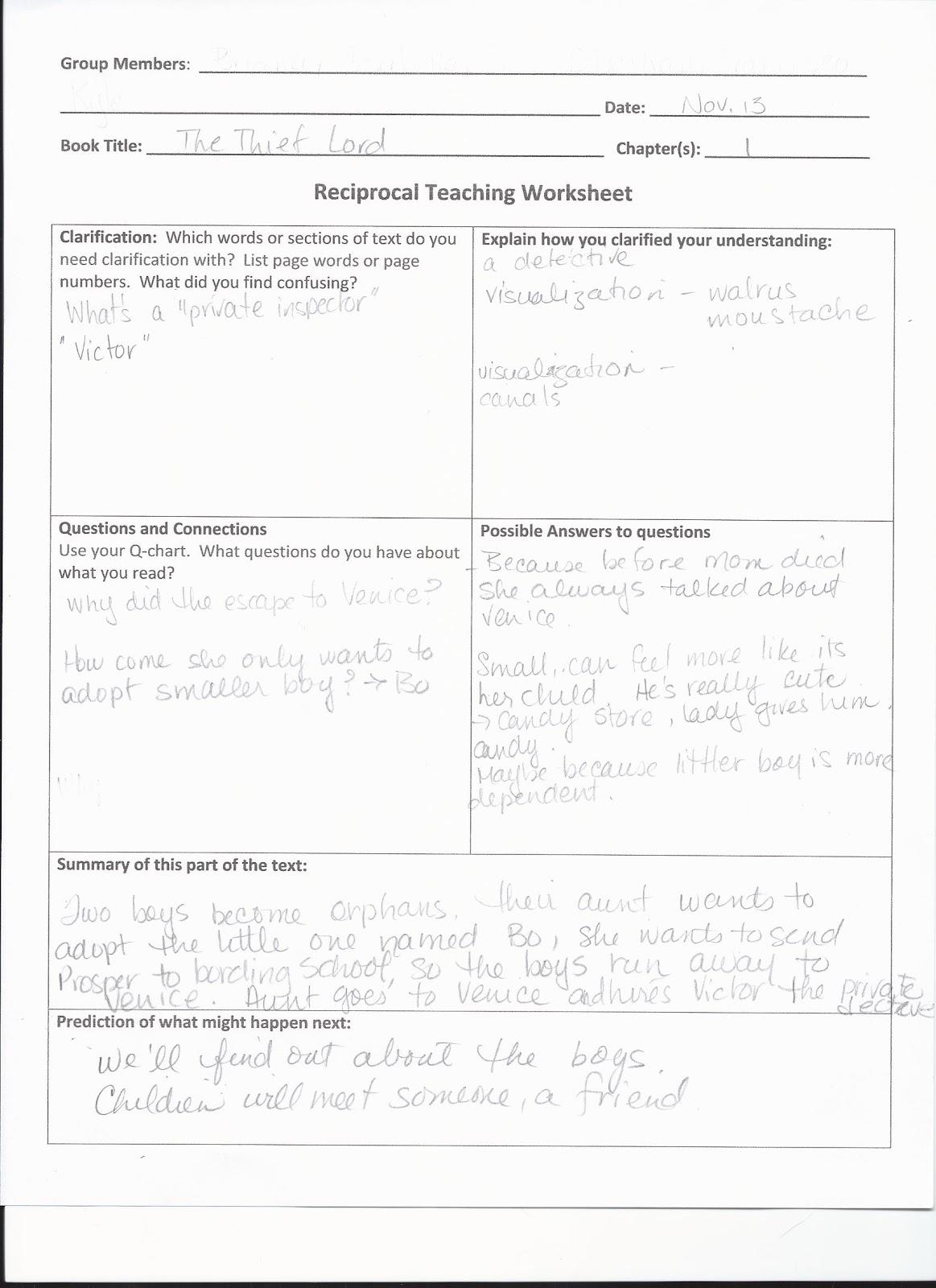Workbooks literature circles roles worksheets : Making Shift Happen: Reciprocal Teaching