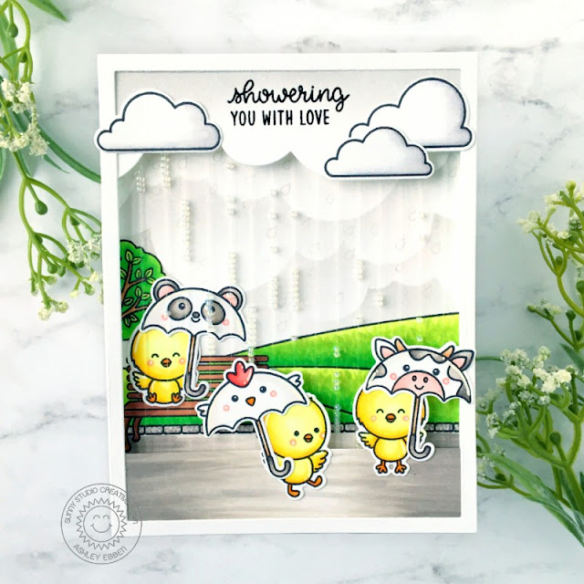 Sunny Studio Stamps: Spring Showers Spring Scenes Chickie Baby Everyday Shaker Card by Ashley Ebben