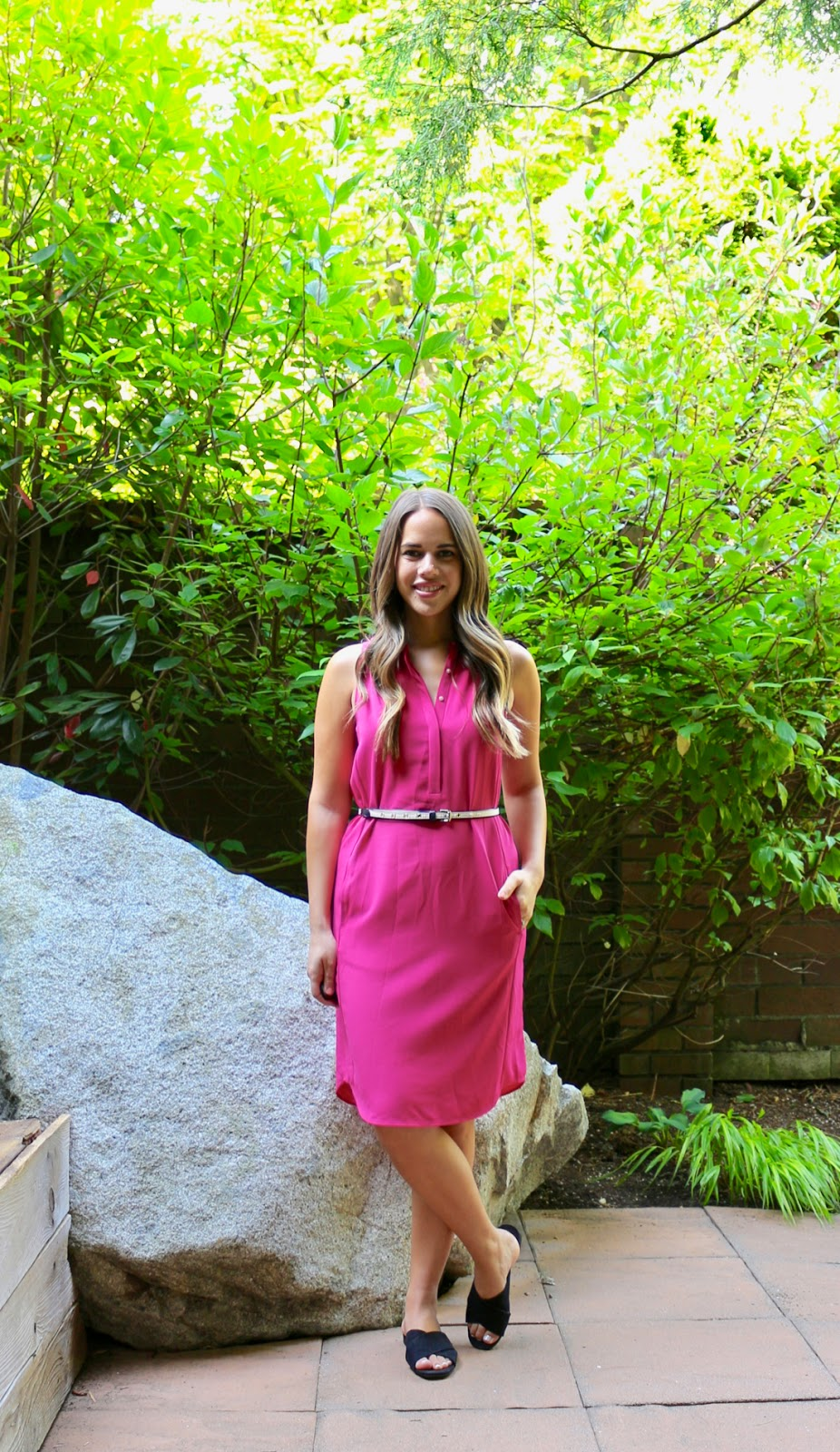 Jules in Flats - Pink Midi Dress (Business Casual Spring Workwear on a Budget)