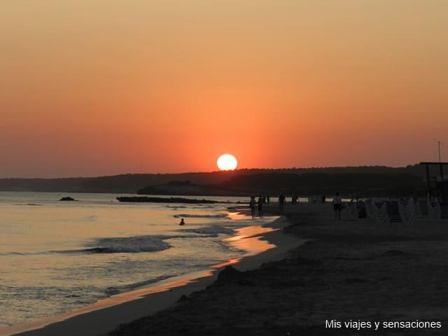 Atardecer, playa, Son Bou, Menorca
