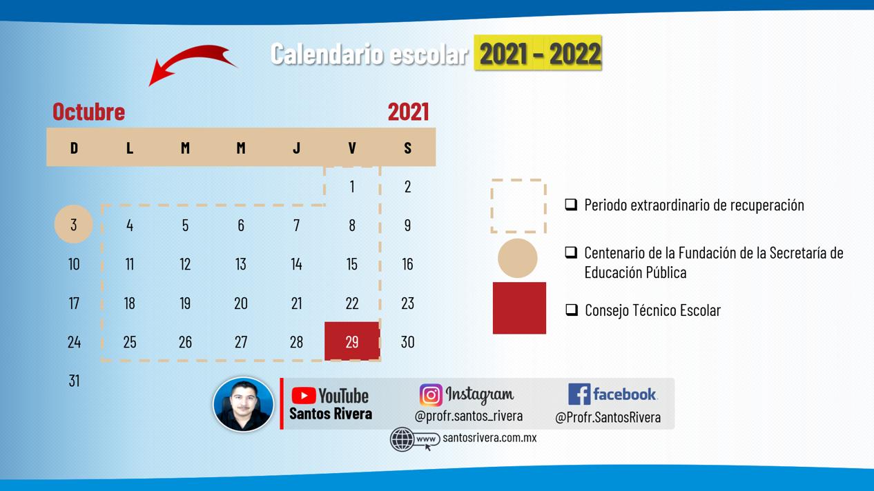 calendario escolar del mes de octubre 2021 - 2022