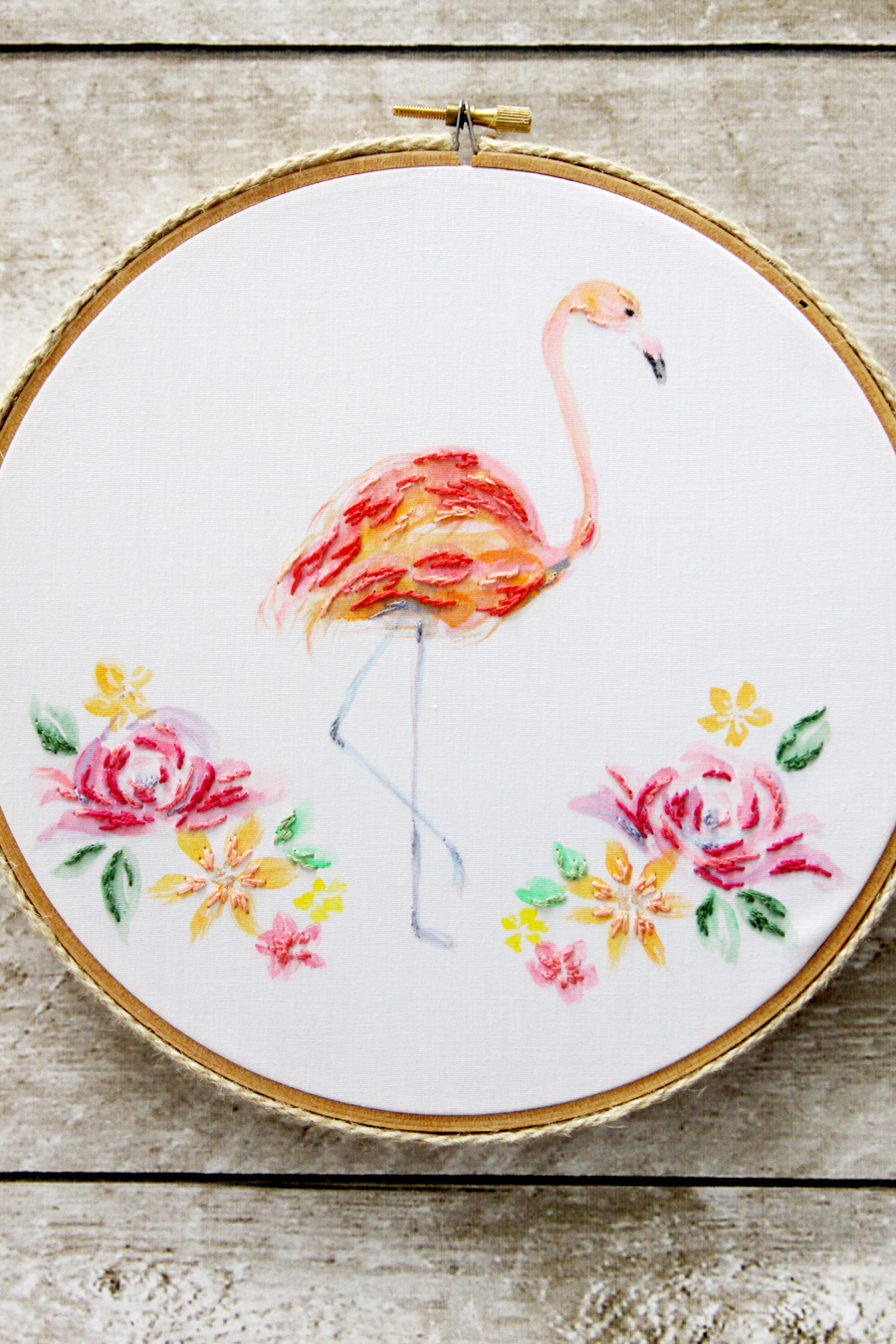 Home decorators collection revisited southern hospitality - Diy Flamingo Watercolor Embroidery By Flamingo Toes