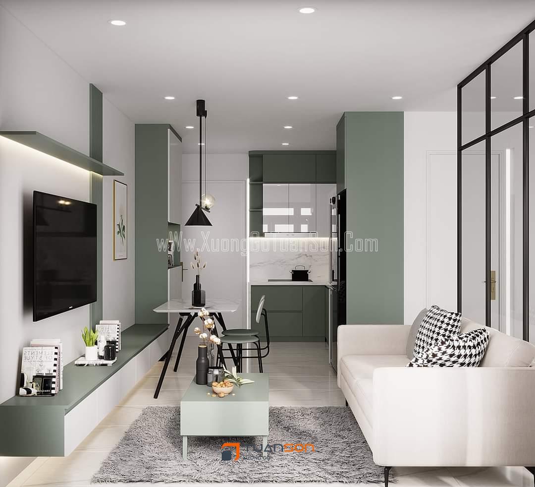 Thiết kế nội thất căn hộ 2PN+1 tòa Vinhomes Ocean Park tone màu xanh mát