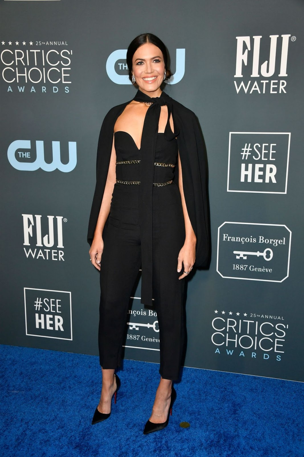 Mandy Moore is glamorous in off shoulder jumpsuit at the 2020 Critics' Choice Awards