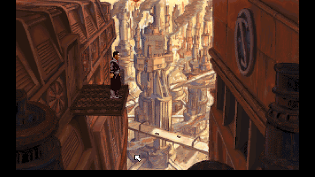 Screenshot of Foster on the fire escape in Beneath a Steel Sky