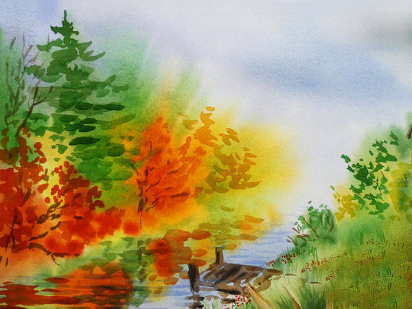 Watercolor Impressionism Fall Autumn Landscape painting by Irina Sztukowski