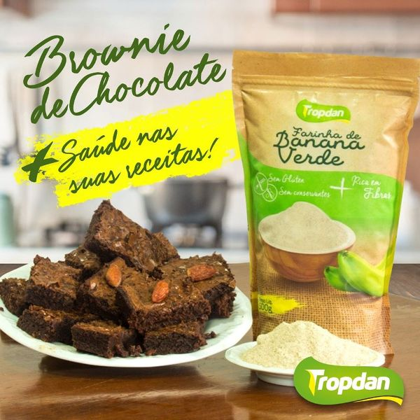 Receita de Brownie de Chocolate com Farinha de Banana