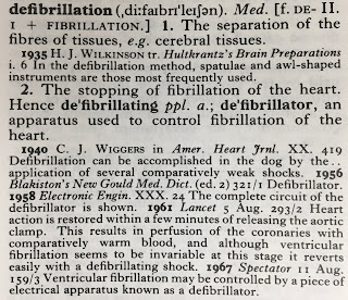 The entry for defibrillation in the Oxford English Dictionary.