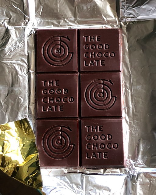 Unwrapped bar of The Good Chocolate dark chocolate