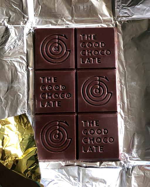 Unwrapped bar of The Good Chocolate dark chocolate