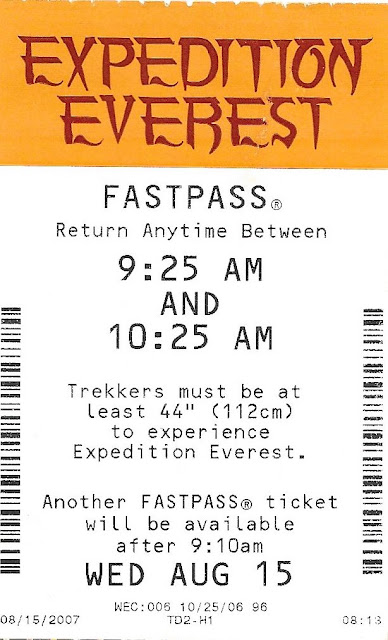Expedition Everest Fastpass 9:25 10:25 2007 Disney's Animal Kingdom