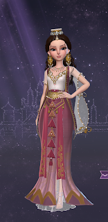 Wondrous rose - a gold fez-like crown and dazzling oversized gold earrings with little pearls hanging from them over a flowing red and gold dress with sheer white sleeves