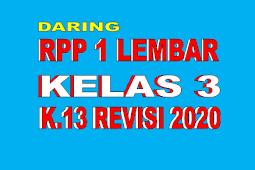 RPP 1 LEMBAR KELAS 3 TEMA 5 REVISI 2020 - RPP DARING