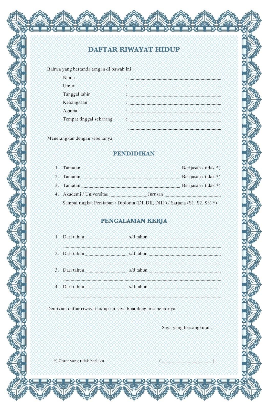 Daftar riwayat hidup cv kosong doc pdf word tulis tangan