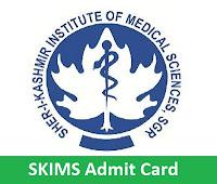 SKIMS Admit Card
