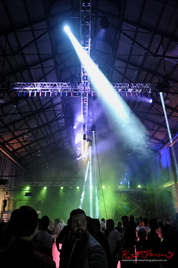 The music crowd and the boom overhead, UE Boom 2 Launch at Carriageworks Sydney #PartyUp photographed by Kent Johnson for Street Fashion Sydney.