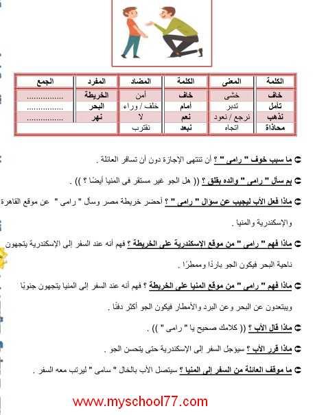 مذكرة لغة عربية تانيه ابتدائى ترم ثانى 2020- موقع مدرستى