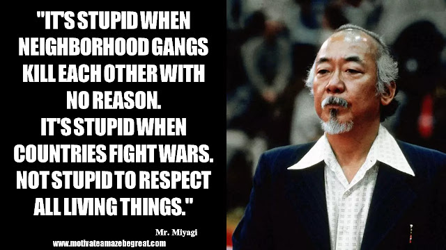 "Mr. Miyagi Inspirational Quotes For Wisdom:  ""It's stupid when neighborhood gangs kill each other with no reason. It's stupid when countries fight wars. Not stupid to respect all living things."" - Mr. Miyagi"