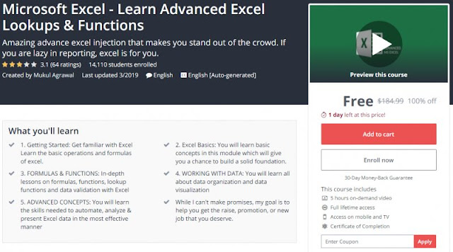 [100% Off] Microsoft Excel - Learn Advanced Excel Lookups & Functions| Worth 184,99$