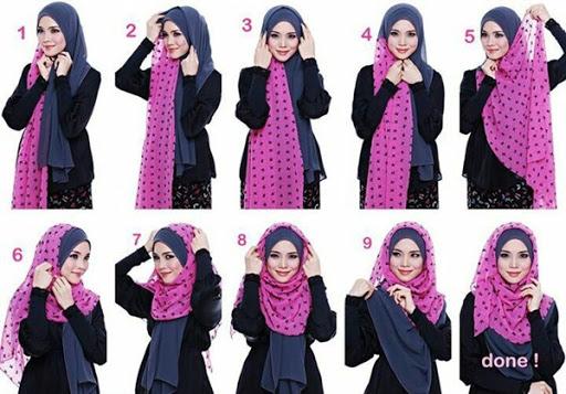 contoh tutorial hijab pashmina panjang terbaru 2017/2018