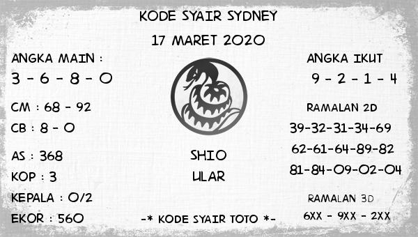 Prediksi Togel Sidney Selasa 17 Maret 2020 - Kode Syair Sydney