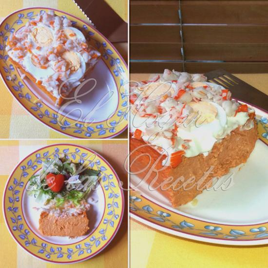 Pastel de bonito y palitos de cangrejo