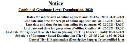 SSC CGL Important dates Exam Date