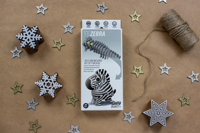 Eugy make your own cardboard zebra in box ready to be wrapped