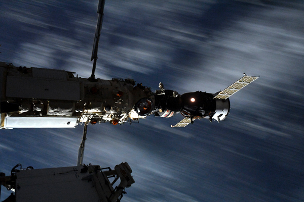 The Soyuz MS-18 vehicle is docked to the Nauka module at the International Space Station (ISS)...on September 28, 2021.
