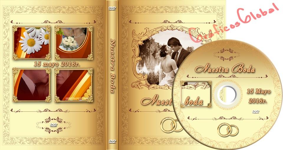 Plantilla psd color dorado para crear portada y etiqueta DVD