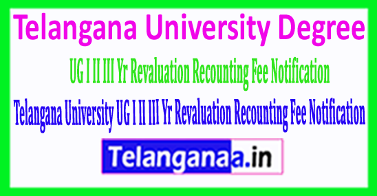 Telangana University Degree 2018 I II III Year Revaluation Recounting Fee Notification