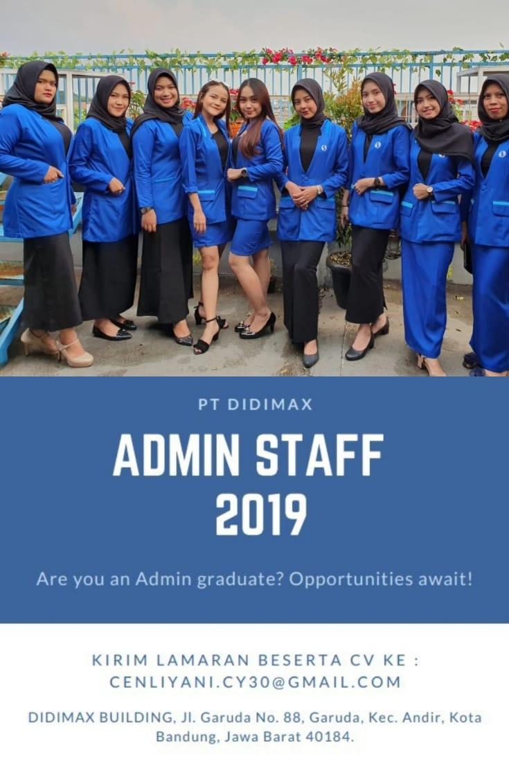 Lowongan Kerja Admins Staff PT. Didimax Bandung Desember 2019