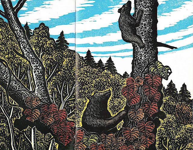 Keizaburo Tejima, a bear with cubs climbing a tree