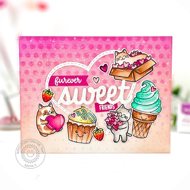 Sunny Studio Stamps: Sweet Word Die Sweet Shoppe Meow & Furever Friendship Card by Kavya