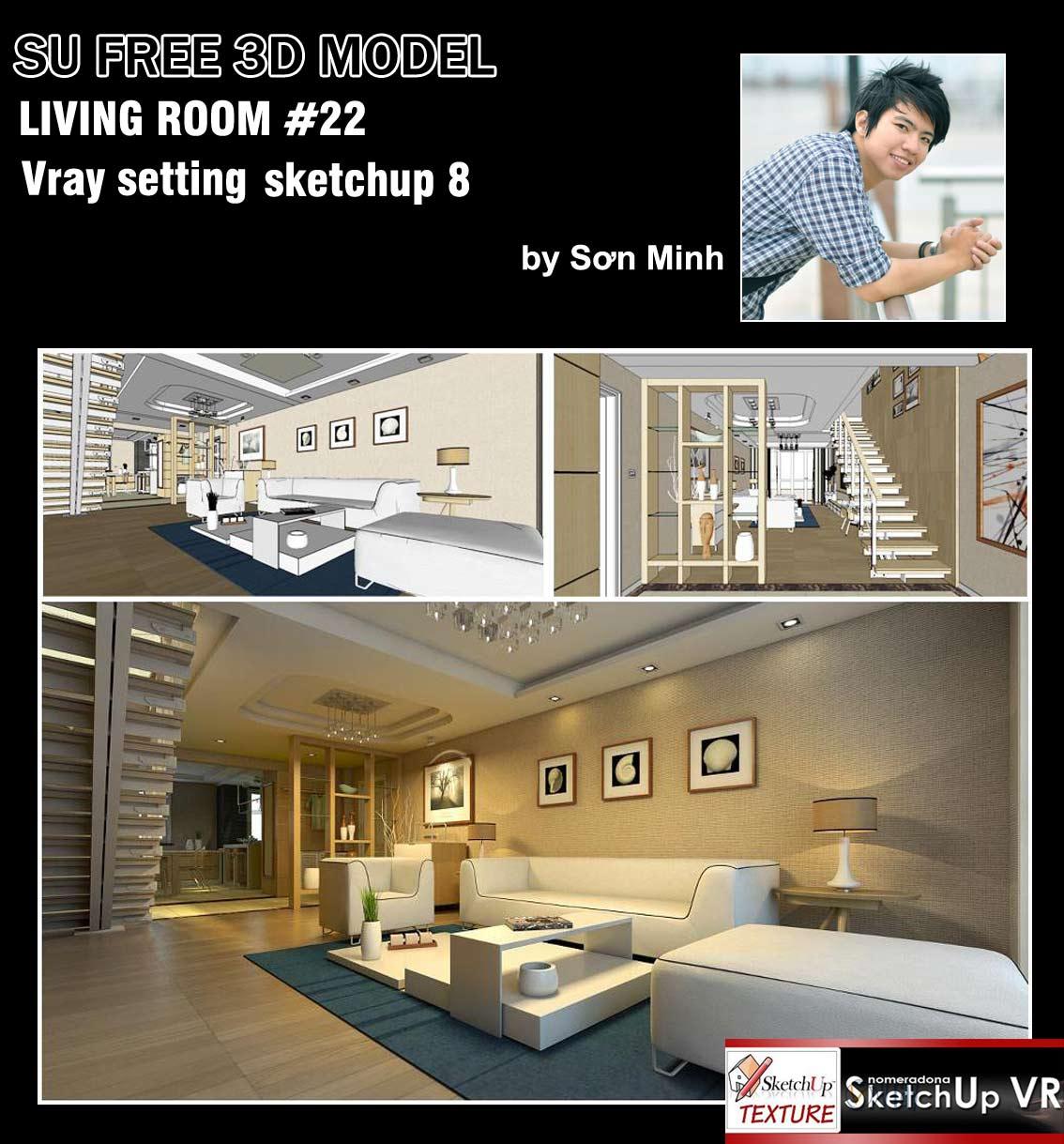 SKETCHUP TEXTURE: SKETCHUP 3D MODEL LIVING ROOM #22