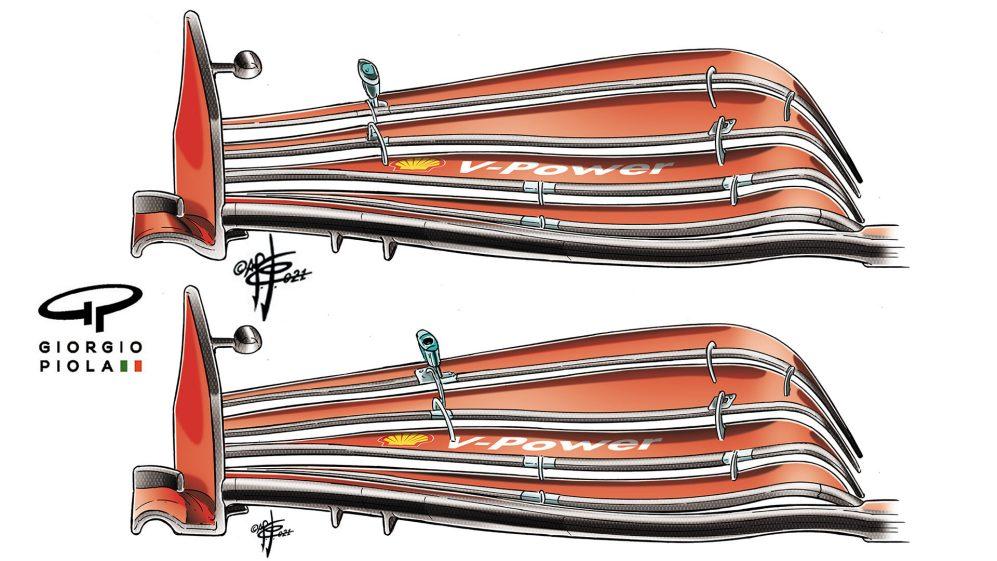 A nova asa dianteira da Ferrari para a França, mostrada na parte superior, contra a mais velha especificação abaixo