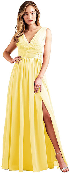 Sexy Yellow Chiffon Bridesmaid Dresses